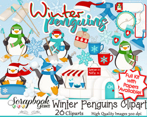 WINTER PENGUINS Clipart