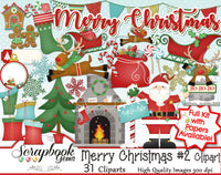 MERRY CHRISTMAS, Set #2 Clipart and Papers