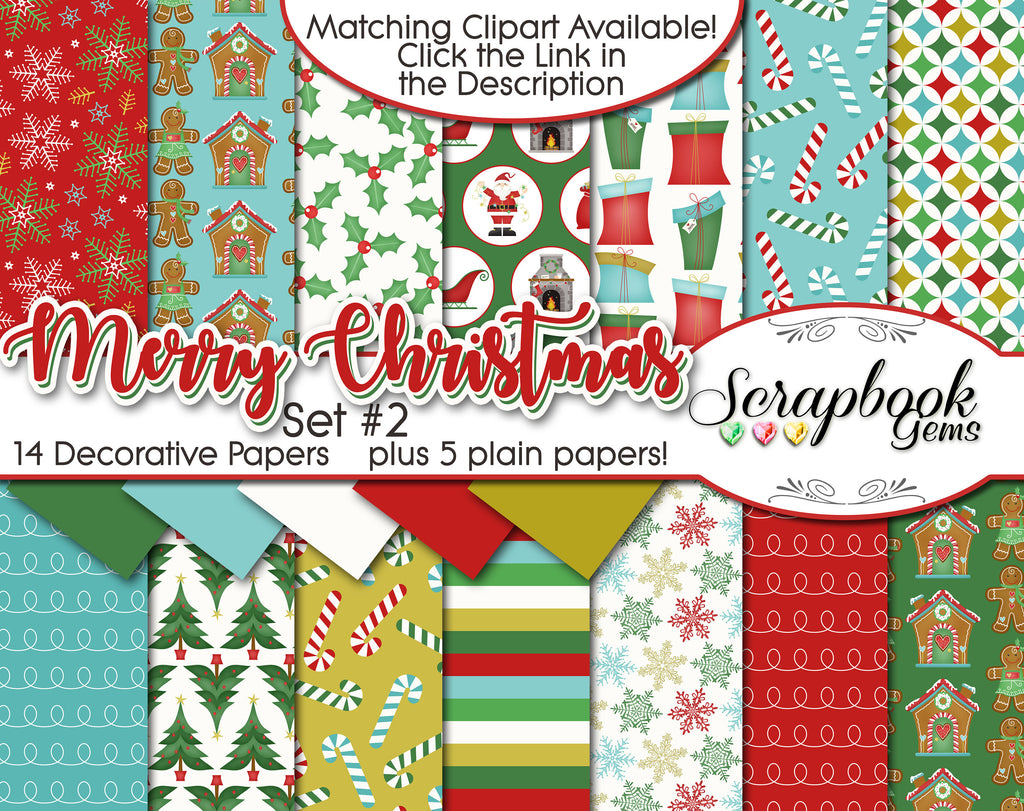MERRY CHRISTMAS, Set #2 Digital Papers
