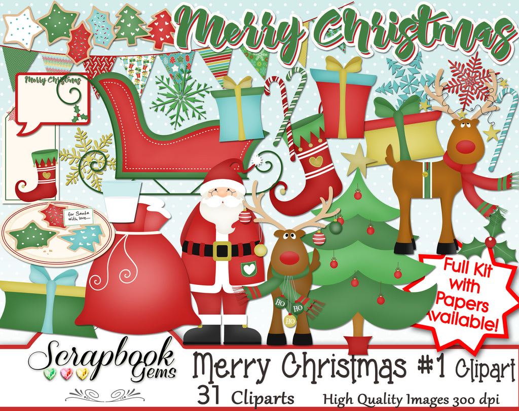 MERRY CHRISTMAS, Set #1 Clipart