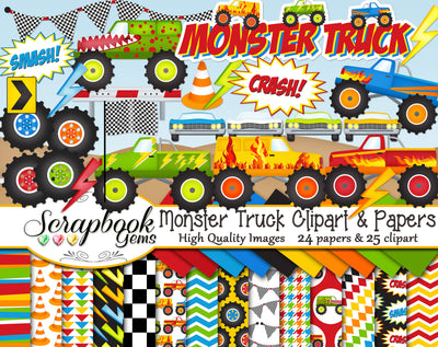 MONSTER TRUCK Clipart and Papers