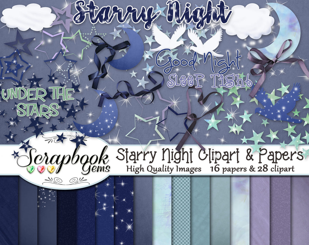 STARRY NIGHT Clipart & Papers