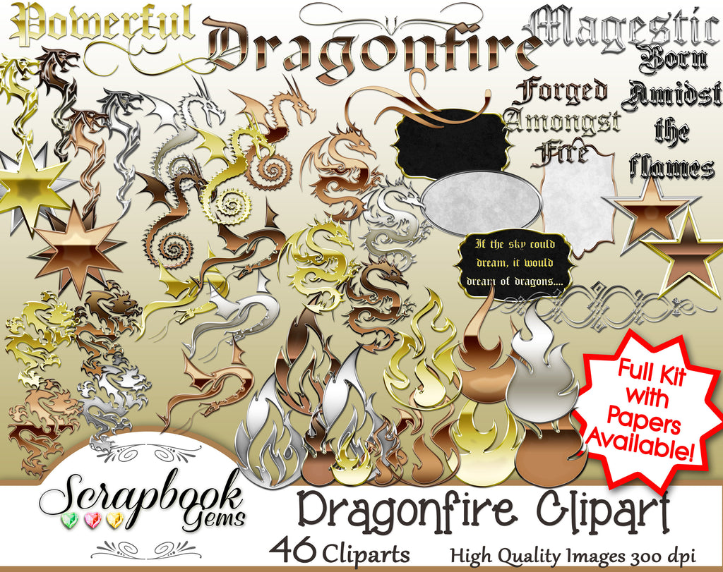 DRAGONFIRE Digital Clipart