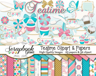 TEATIME Clipart and Papers