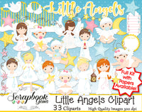 LITTLE ANGELS Clipart and Papers