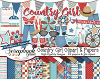 COUNTRY GIRL Clipart and Papers