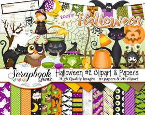 HALLOWEEN, Set #2 Clipart and Papers