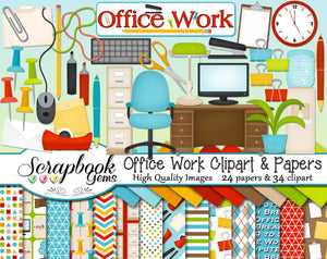 OFFICE WORK Clipart and Papers