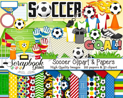 SOCCER Sports Clipart and Papers