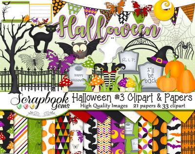 HALLOWEEN, Set #3 Clipart and Papers