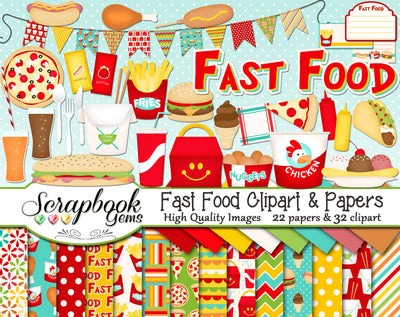 FAST FOOD Clipart and Papers