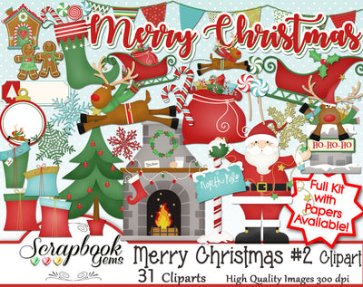 MERRY CHRISTMAS, Set #2 Clipart