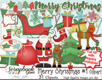 MERRY CHRISTMAS, Set #1 Clipart and Papers