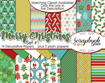 MERRY CHRISTMAS, Set #1 Digital Papers