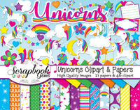 UNICORNS Clipart and Papers