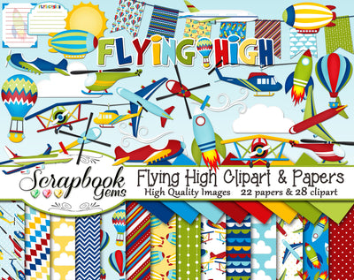 FLYING HIGH Clipart and Papers