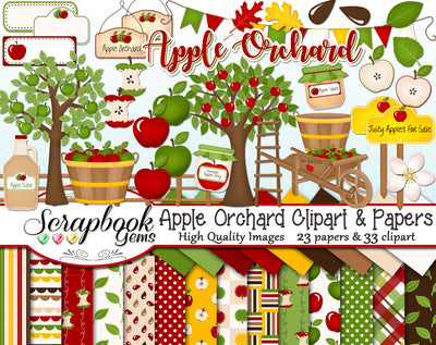 APPLE ORCHARD Clipart and Papers