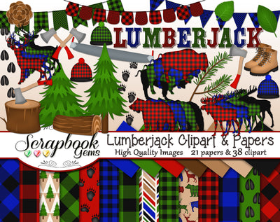 LUMBERJACK Clipart and Papers