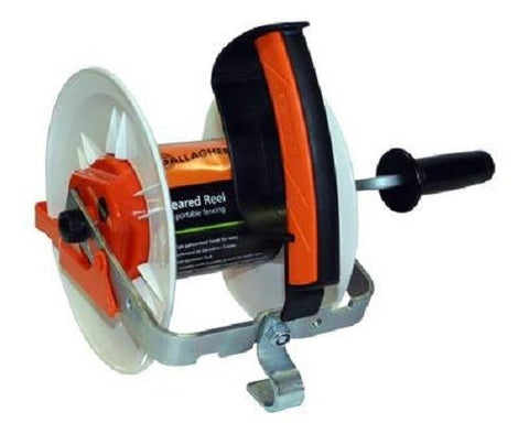 Gallagher Medium Geared Reel Prewound 400m Orange Turbo wire