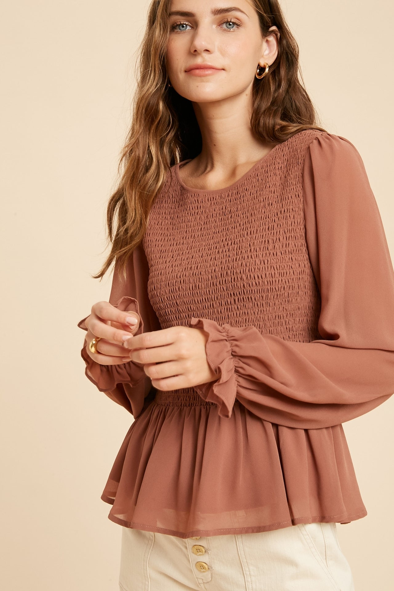 Smocked Ruffle Hem Chiffon Blouse - Ginger-Blouse-Branded Envy