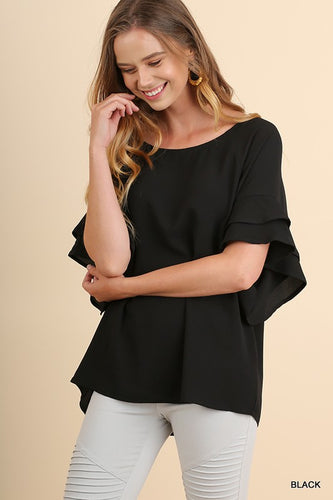 Black summer shandy blouse