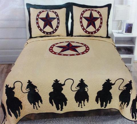 Riding Cowboy 3 Piece Quilt Set-Bedding-Branded Envy