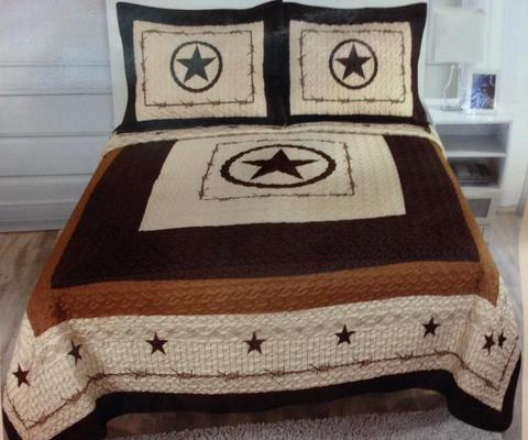 3 Piece Star Beige Quilt Set-Bedding-Branded Envy