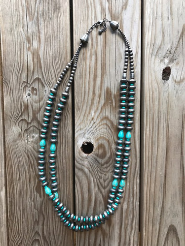 Silver & turquoise 2 strand necklace