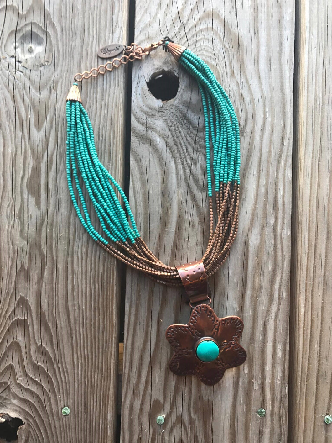 Copper & turquoise flower