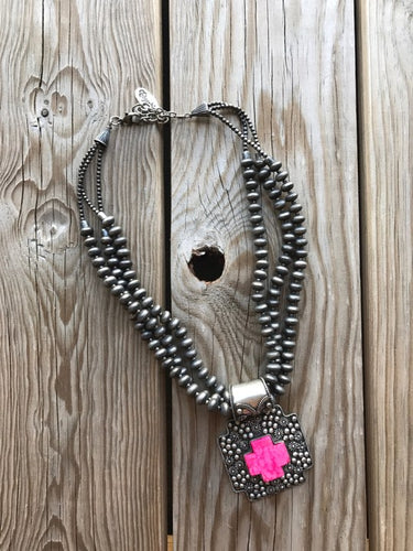 Silver Navajo pearl Necklace w/pink cross pendent