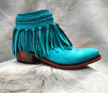 No Buck Turquoise Liberty Black Booties