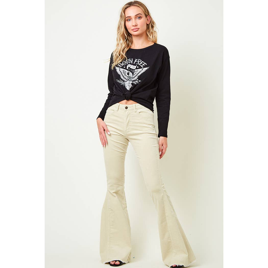 Cream Corduroy flare pants-Bell Bottoms-Branded Envy