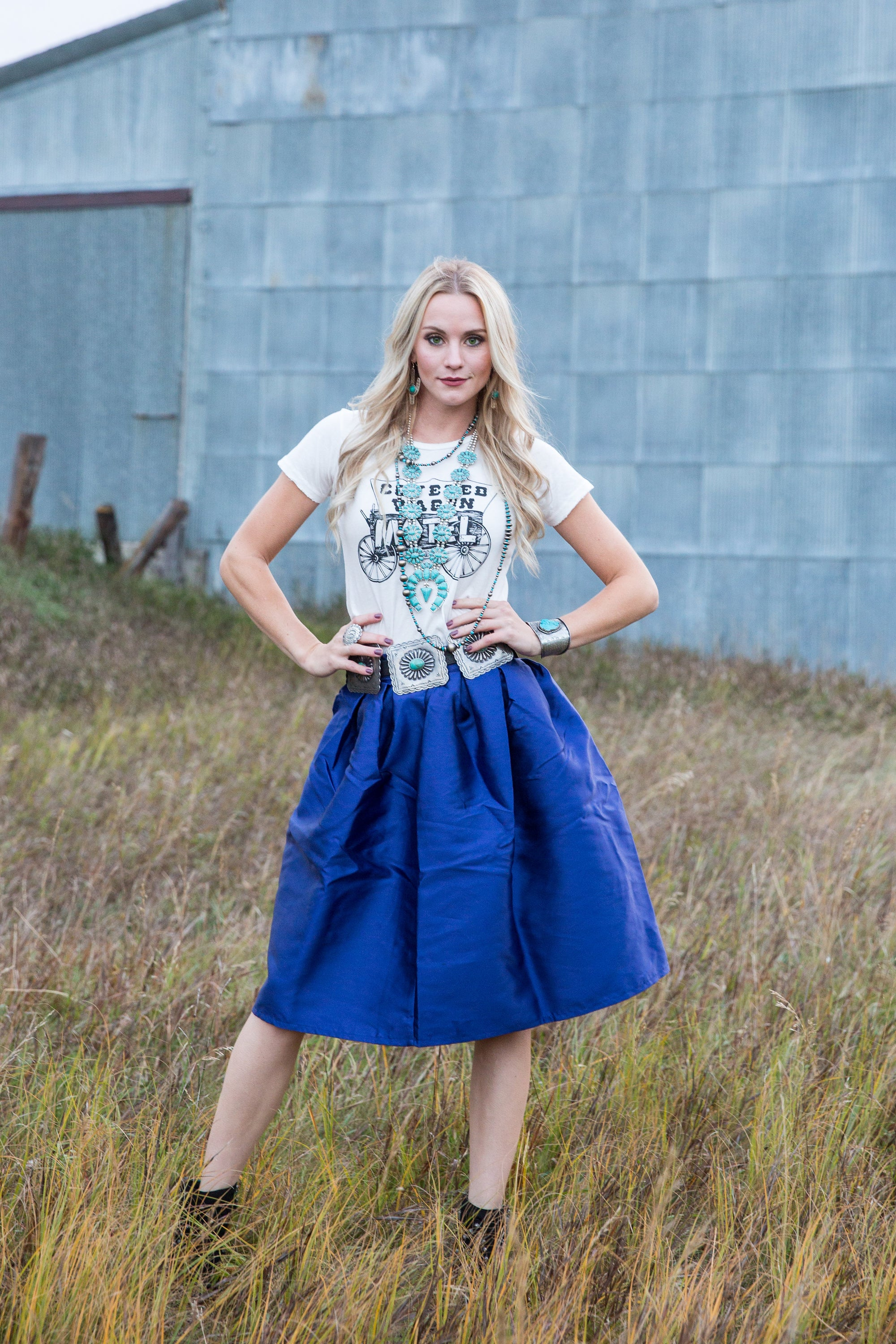 Brilliant Blue Skirt-Skirts-Branded Envy