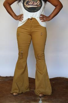 Kendall Bell Bottom - Mustard-denim-Branded Envy