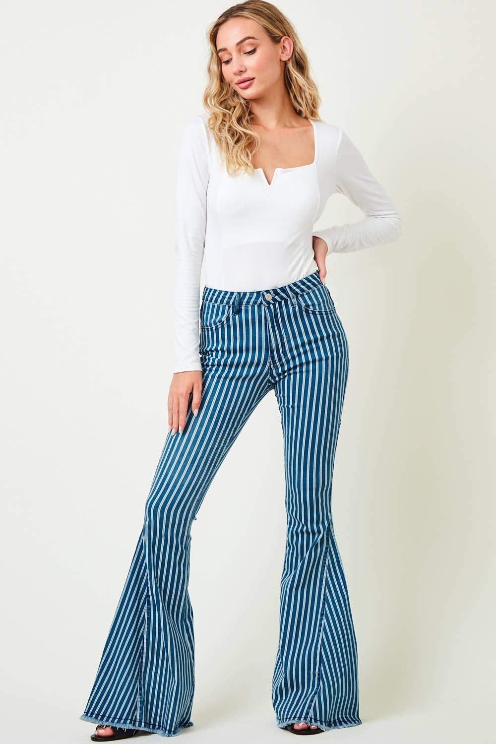 Stretchy Striped Denim Flared Bell-Branded Envy