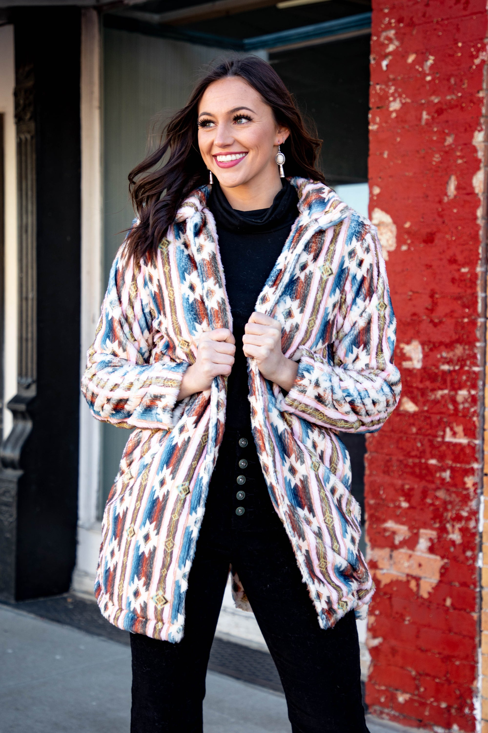 Aztec Serape Fur Print Coat-Jacket-Branded Envy