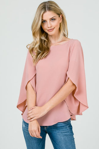 Rose Split Ruffle Sleeve Blouse
