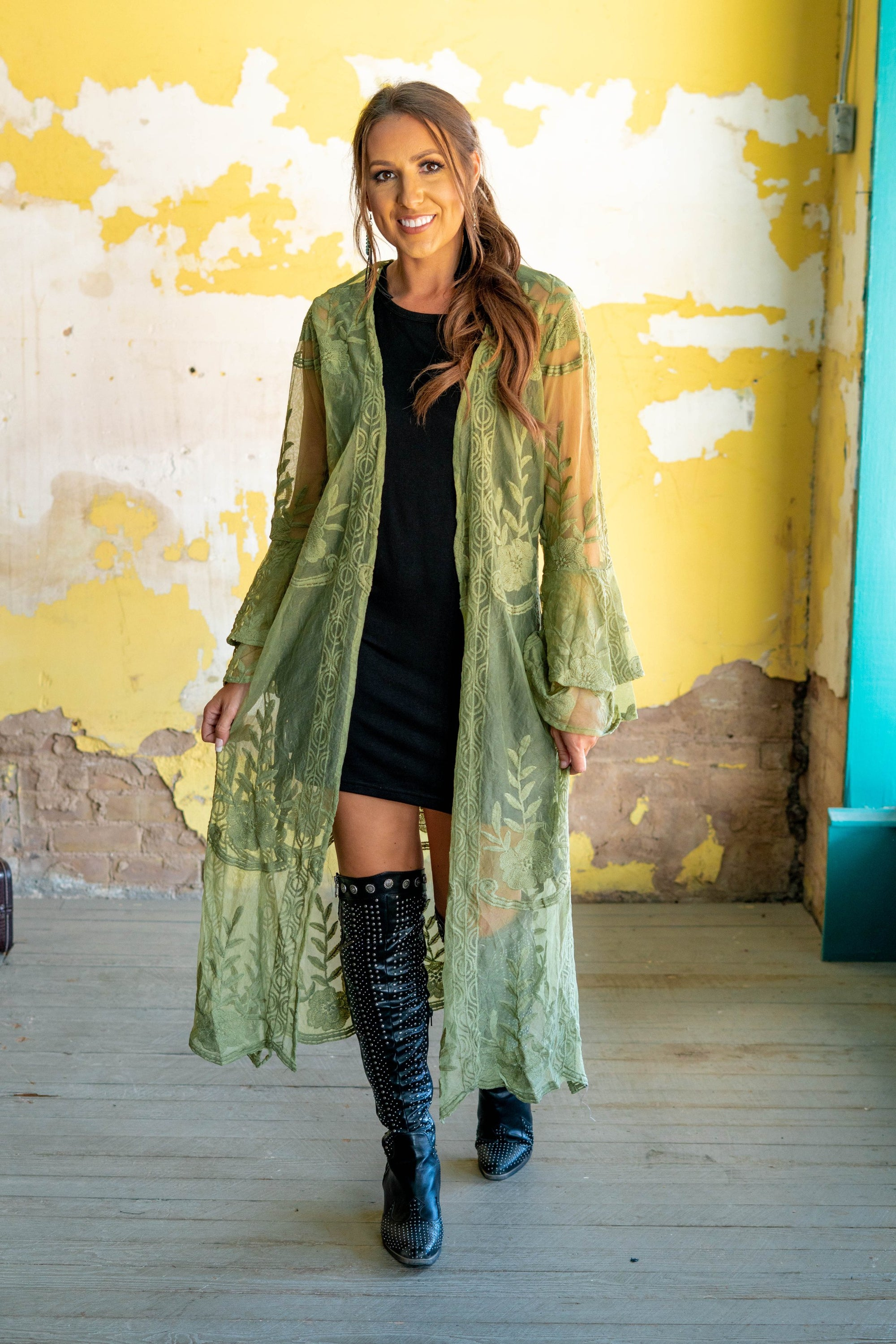 Katie Lace LS Double Ruffle Duster - Sage-Duster-Branded Envy