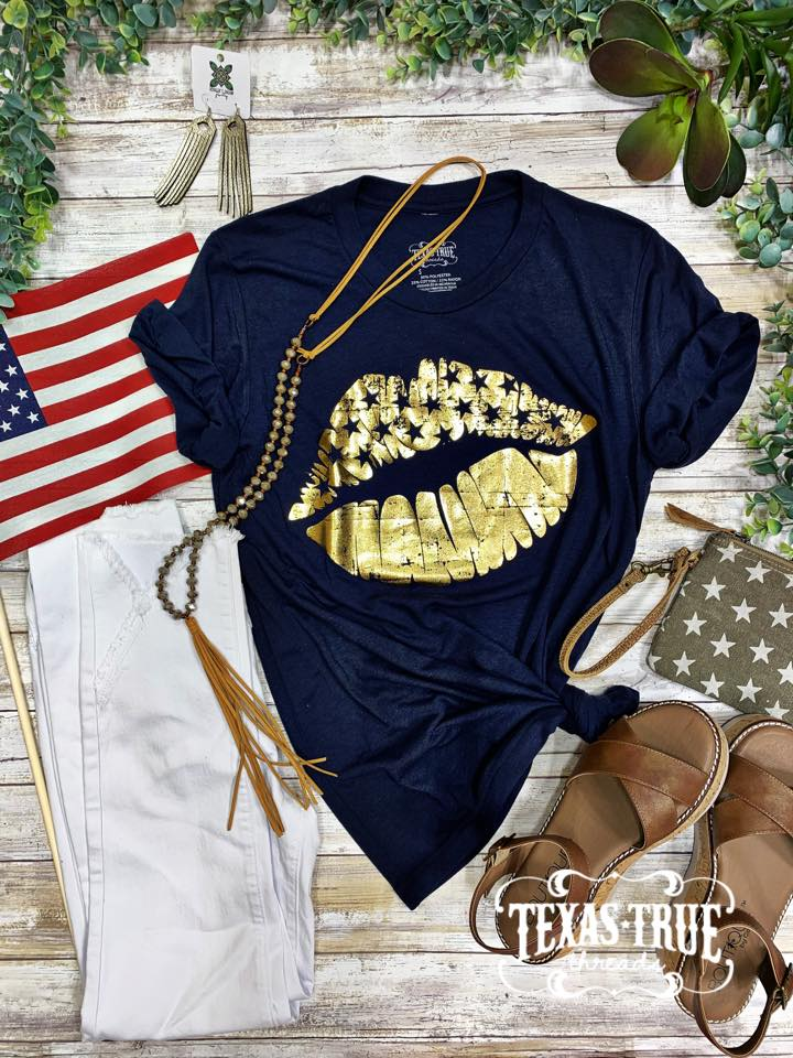 Patriotic Gold Foil Lips Graphic Tee-graphic tee-Branded Envy
