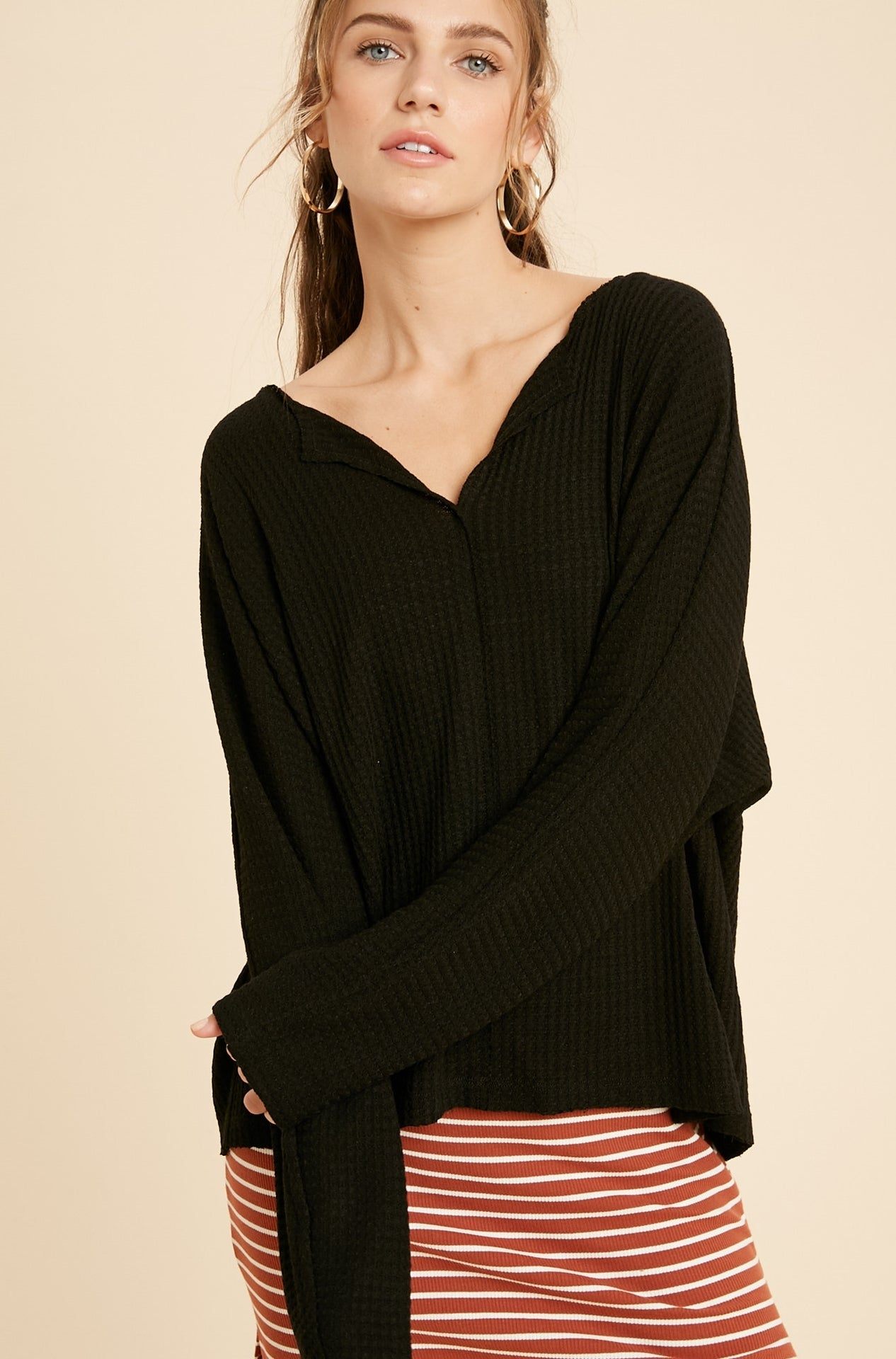 Whisper v neck knit top - Black-sweater-Branded Envy