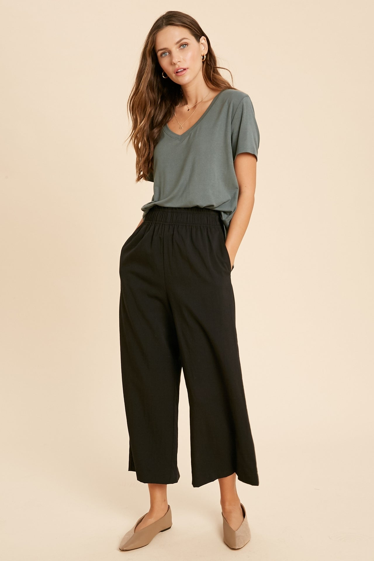 Weldon Shirred Waist Wide Leg Pants - Black-Pants-Branded Envy