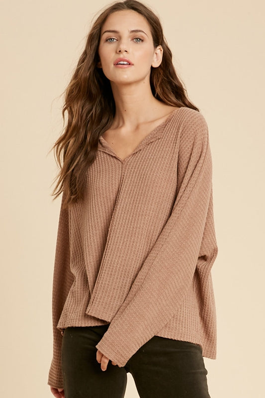 Whisper v neck knit top - Clay-sweater-Branded Envy