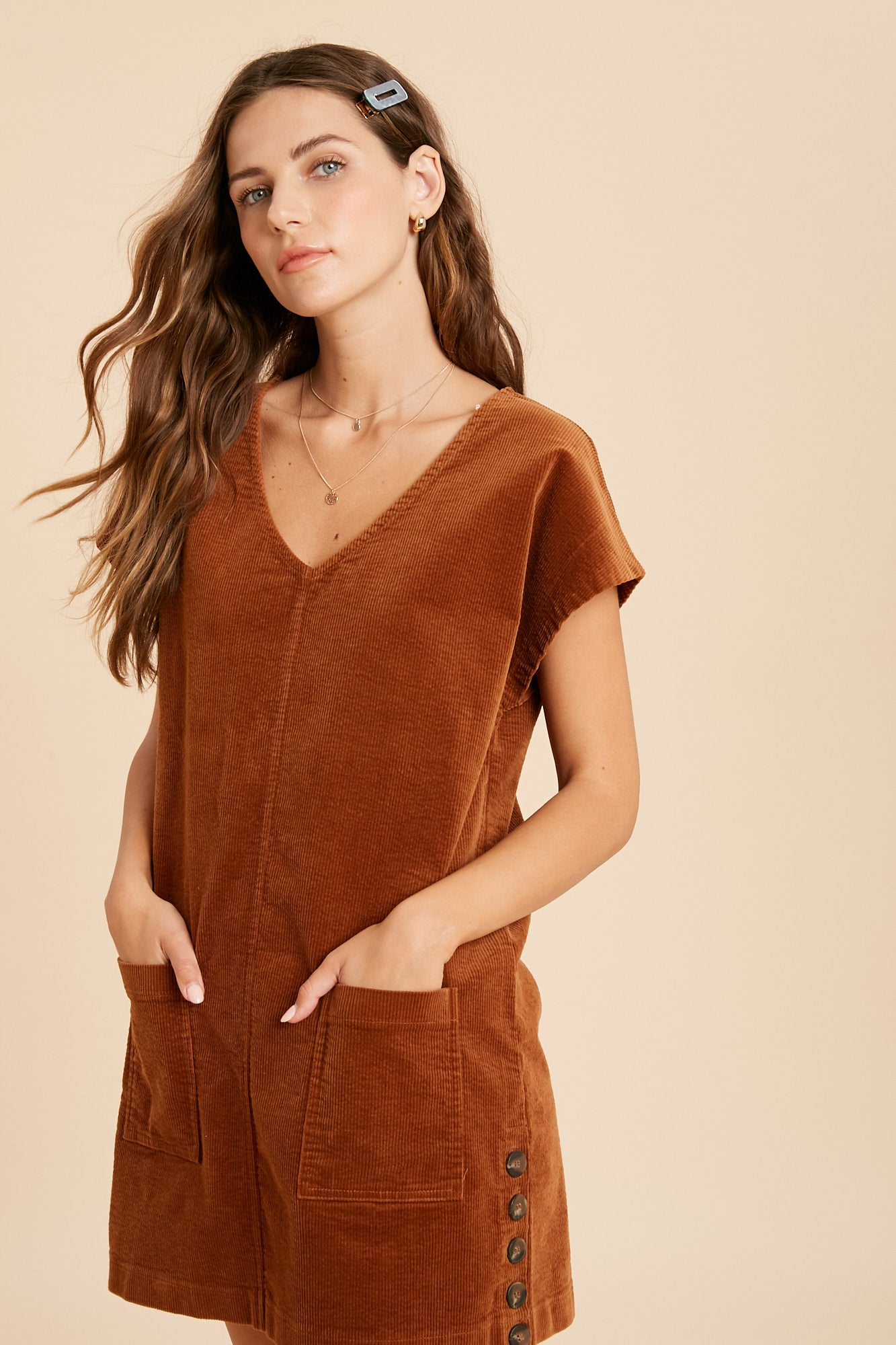 Jasmine corduroy side button dress-dress-Branded Envy