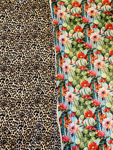 Floral Cactus/Leopard Two Tone Fleece Blanket