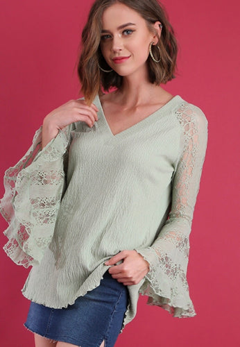 Dusty mint lace bell sleeve top