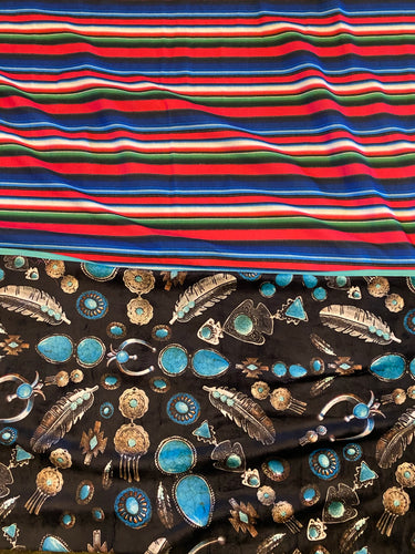 Turquoise Burst Black/Pink Serape Two Tone Fleece Blanket