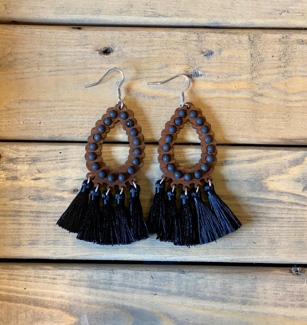 Black Whisper Teardrop Earrings
