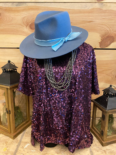 Ladies Grape Sequin SS Top