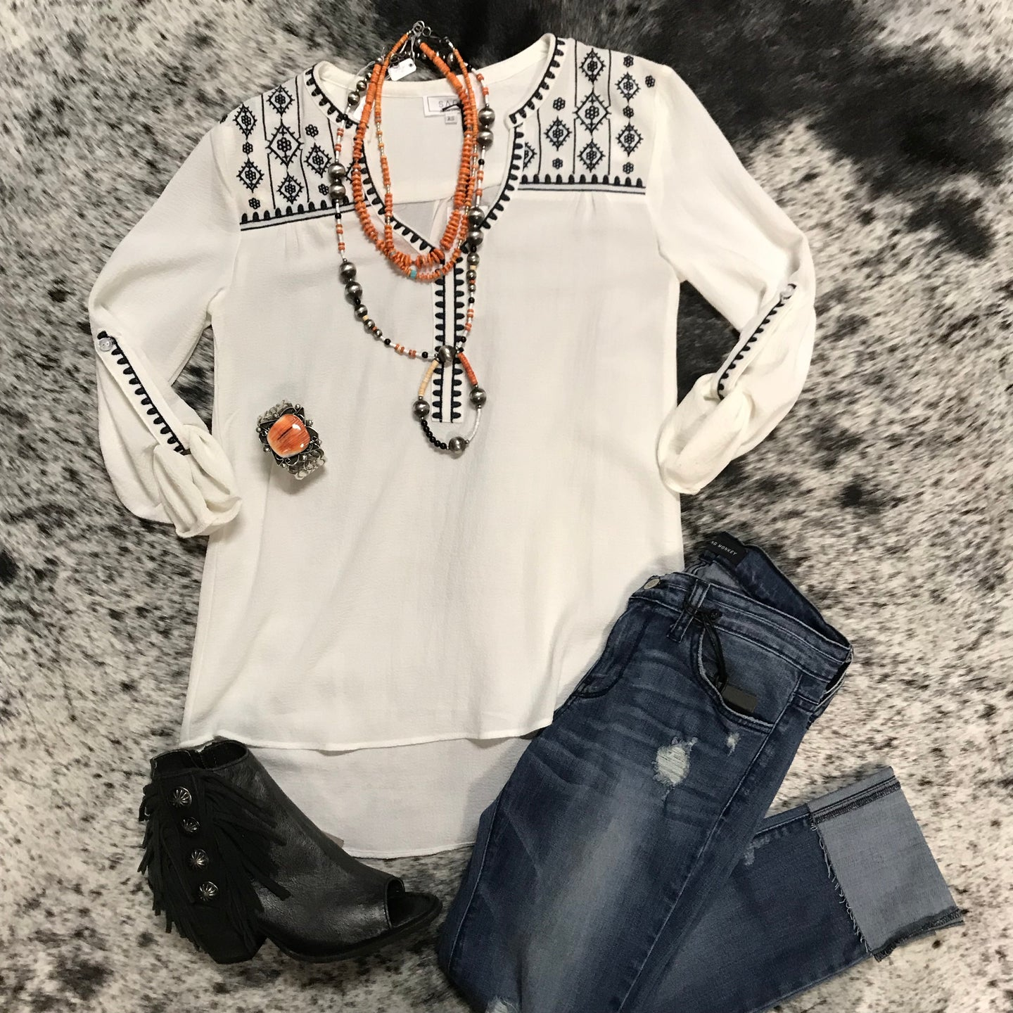 Navy & White fancy top