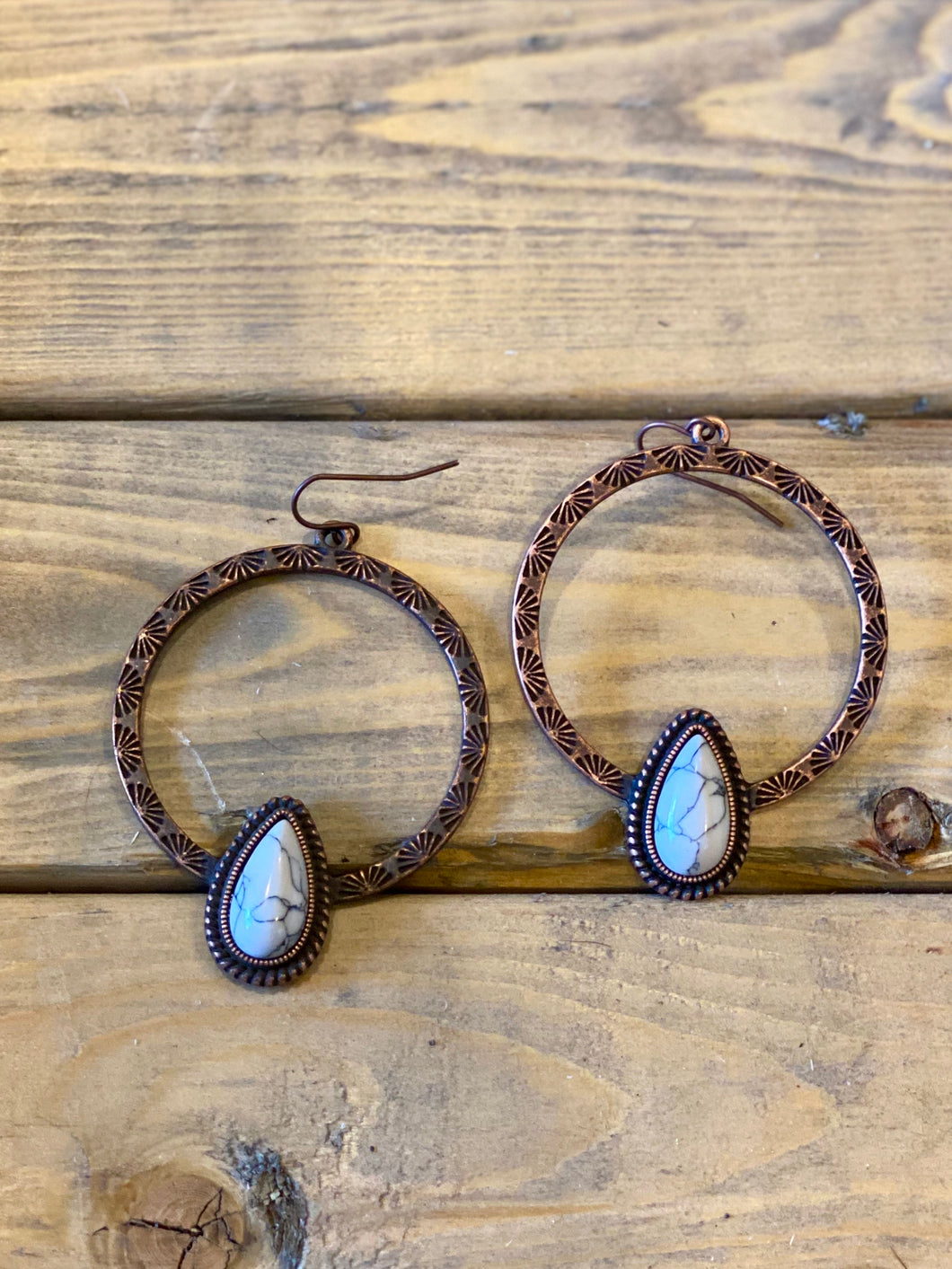Jasmine Copper & white buffalo hoop earrings